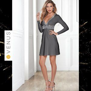 VENUS DEEP V TRIM COCKTAIL DRESS DARK GREY SIZE 6